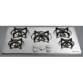 smeg gas hob p755x1 stainless steel silver details marc newson line 75 cm