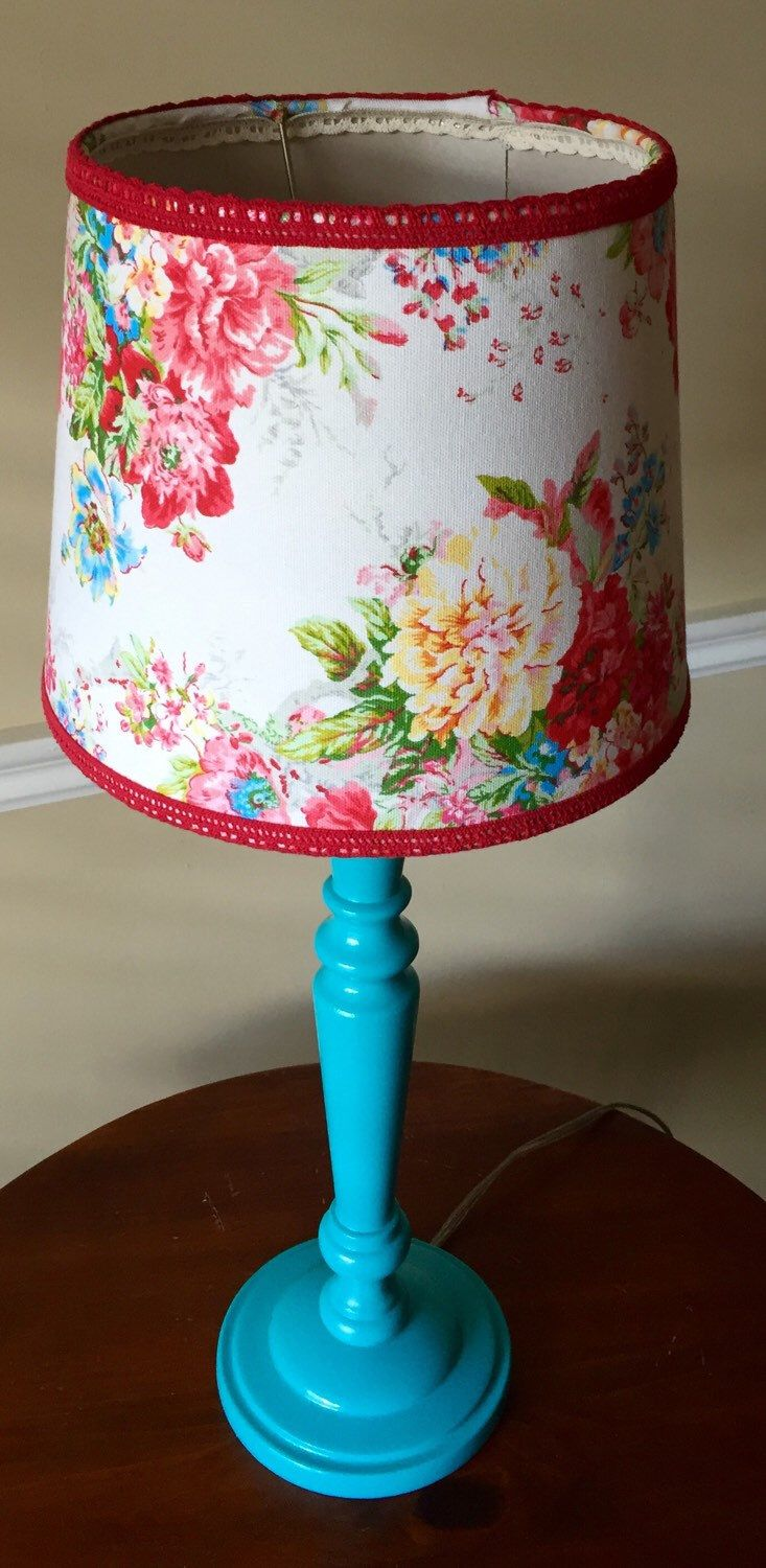 Fun and Flirty Turquoise Lamp with Whimsical Floral Lamp Shade Embellished with Red Lace by clairesbrightside on Etsy https://www.etsy.com/listing/285756243/fun-and-flirty-turquoise-lamp-with