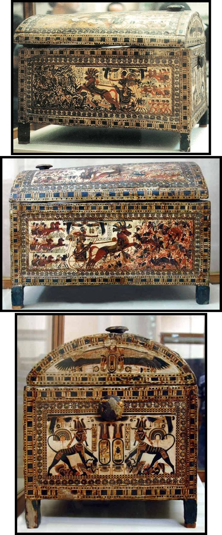 Painted wooden chest of king Tutankhamun. Egyptian Museum