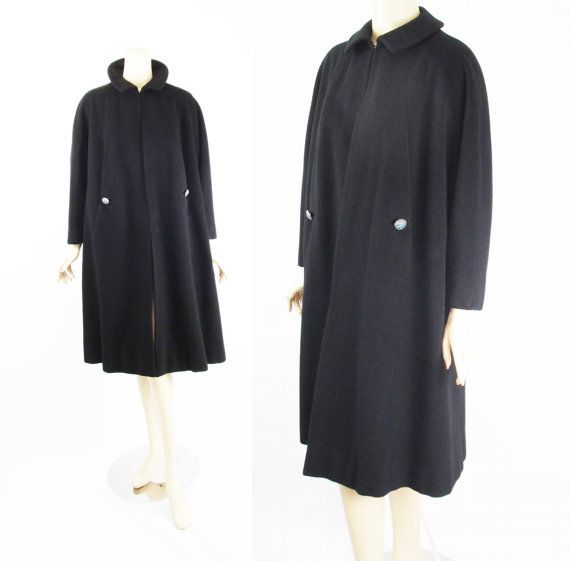 1950s Black Cashmere Swing Coat from Halle Bros B46 | Swing coats ...
