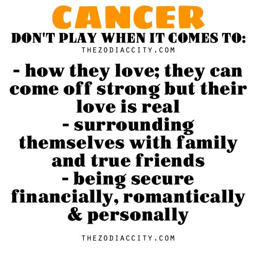 Zodiac Files: Cancer don't play when it comes to….