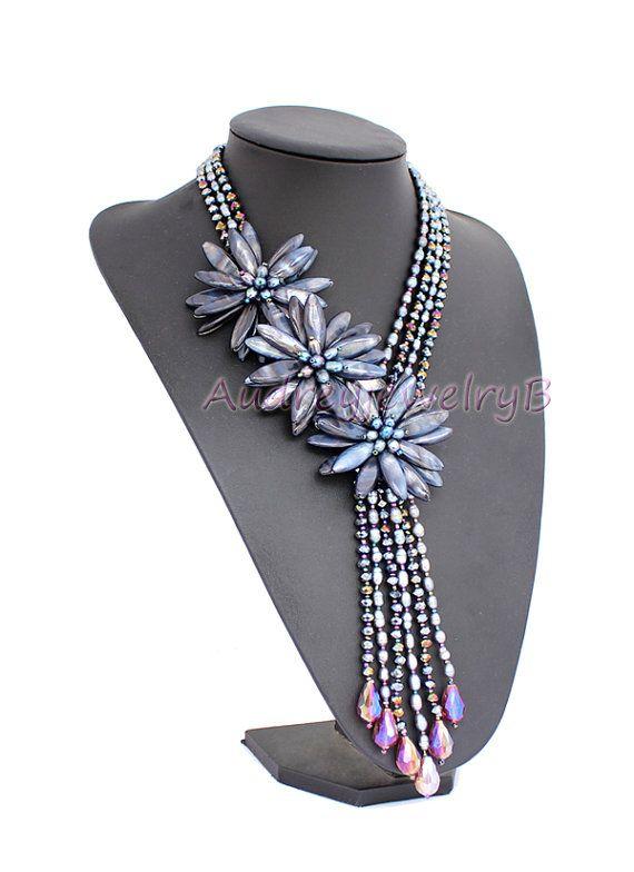 Lussuosa sorella naturale perla shell collana di di AudreyjewelryB