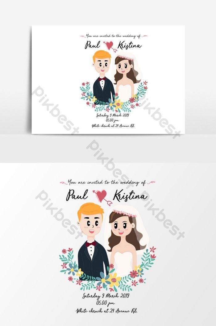 بطاقة زفاف لطيف مع زوجين في إكليل الزهور صور Png Ai تحميل مجاني Pikbest Printable Invitation Card Wedding Cards Png Images
