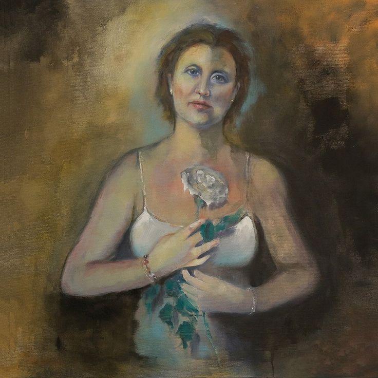 Linda, 70x70olio e acrilico su tela