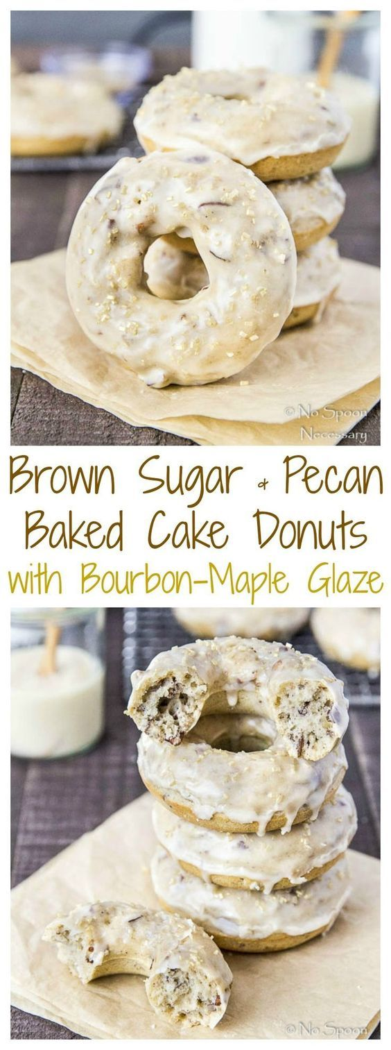 Brown Sugar & Pecan Baked Cake Donuts with Bourbon-Maple Glaze
