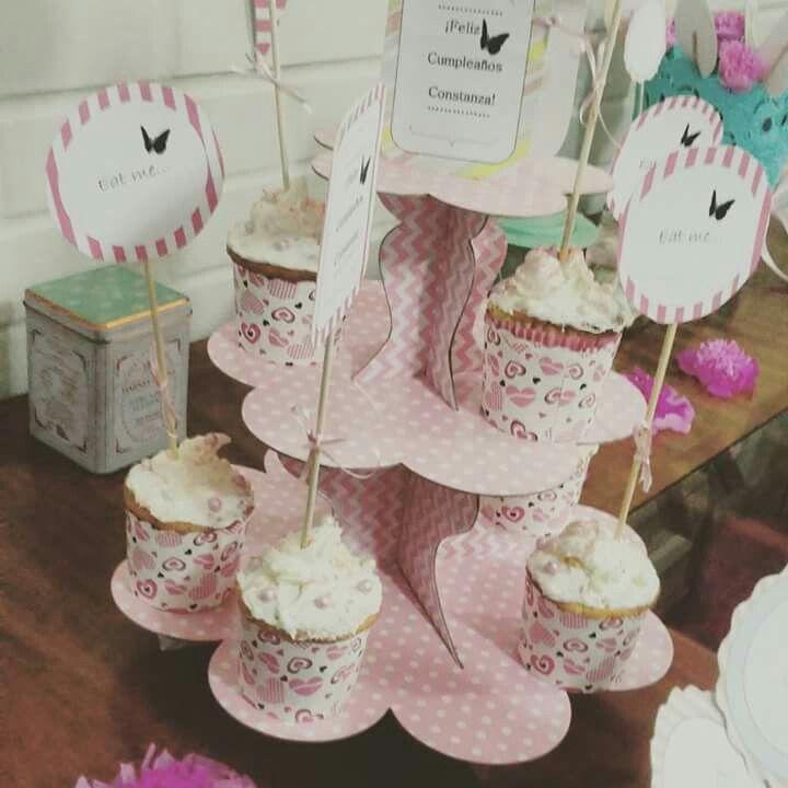 Cup cakes deco vintage pop rosa