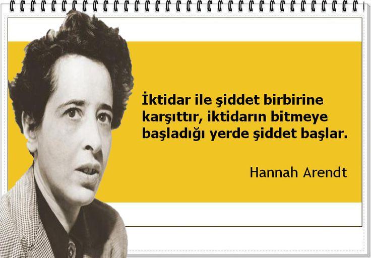 İktidar ile şiddet birbirine karşıttır, iktidarın bitmeye başladığı yerde şiddet başlar. -Hannah Arendt