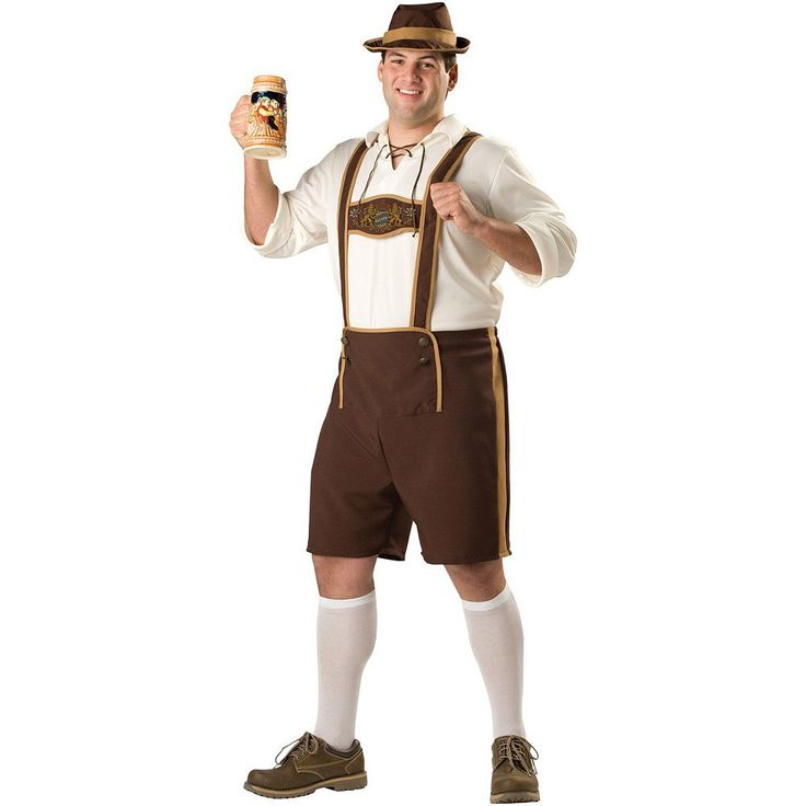Plus Size Lederhosen Guy Costume - Adult Plus, Men's, Size: 2XL, Brown
