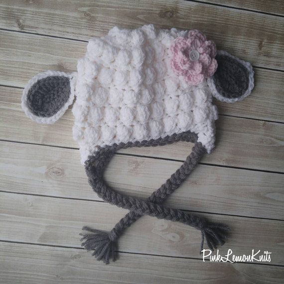 Lamb Hat crochet Christmas gift boy baby photo by PinkLemonKnits