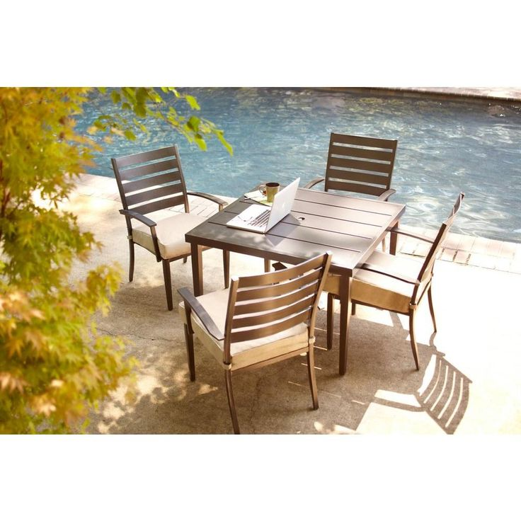 Hampton Bay Marshall 5-Piece Patio Dining Set with Textured Silver Pebble Cushions-HD14302 at The Home Depot