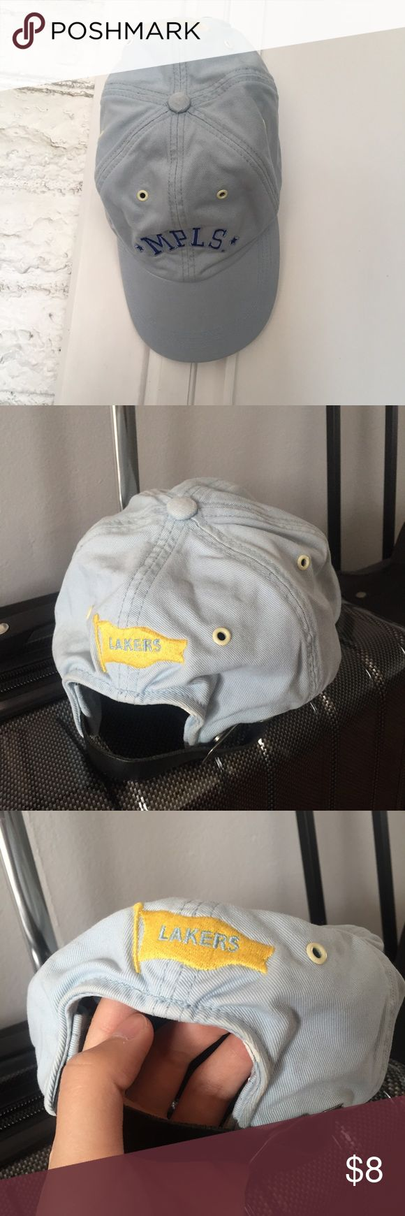 Lakers hat Baby blue Lakers hat with adjustable strap. Good condition. Only minor flaws is the white stain near the strap on the back. Almost unnoticeable. Price firm unless bundle with other items. Accessories Hats