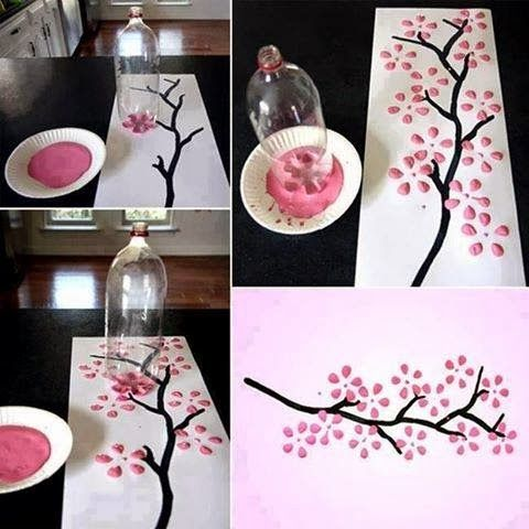 Cherry Blossom Art Bottle... my friend Libby loves cherry blossoms AND crafts. Perfect!
