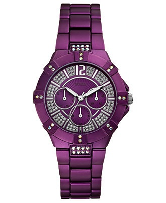 GUESS Watch, Women's Purple Aluminum Bracelet 41mm U0024L2 - Guess - Jewelry & Watches - Macy's