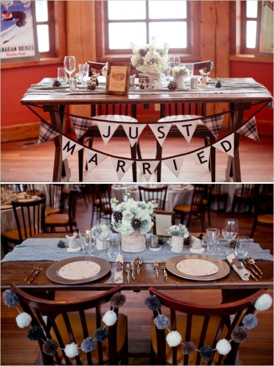 just married bunting ideas for sweetheart table #sweethearttable #justmarried #weddingchicks http://www.weddingchicks.com/2014/03/06/whimsical-winter-wedding/