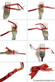 GENIAL!   depois do tutorial dos mini-pompons   a  ESKIMIMI MAKES  ensina-nos a usar o garfo novamente,  mas desta vez é para fazer lacin...