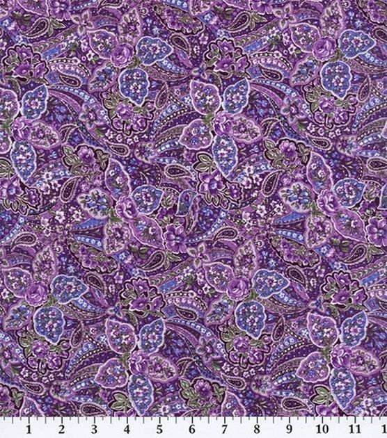 Keepsake Calico Fabric-Violet Paisley, , hi-res