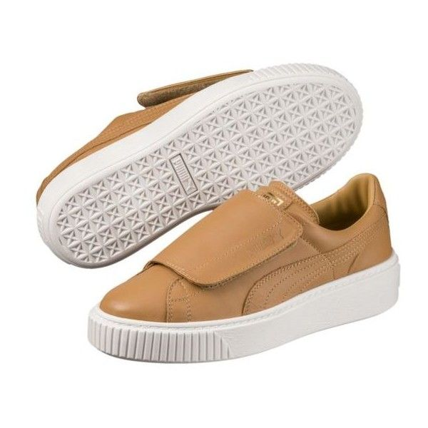 Basket Platform Big Strap Women's Sneakers (650 SEK) ❤ liked on Polyvore featuring shoes, sneakers, leather trainers, platform sneakers, platform shoes, platform trainers and leather platform sneakers