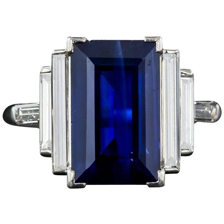 Natural No-Heat 5.00 Carat Emerald-Cut Sapphire and Long Baguette Diamond Ring | 1stdibs.com