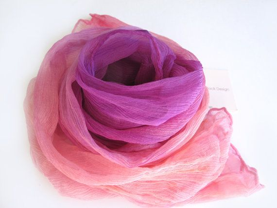 Ombre Crinkle Chiffon Scarf Hand-dyed  by VivienPollackDesign