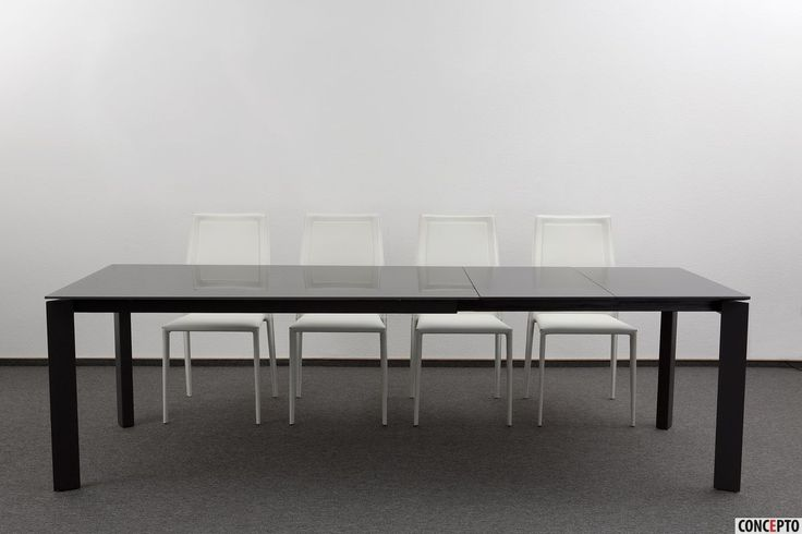 Leather dining chairs Nicety and table Gloss Grey Glass by Concepto