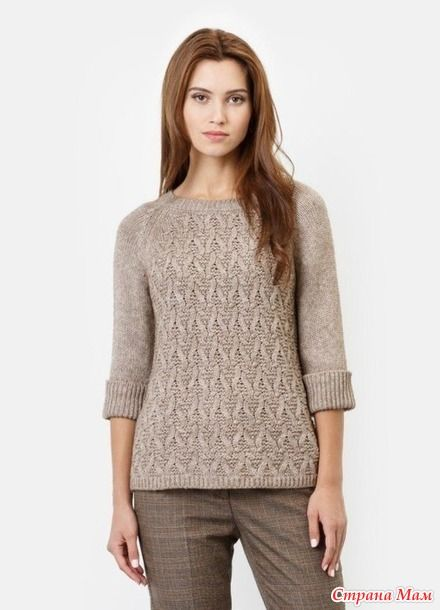Интересный пуловер спицами. Схемы