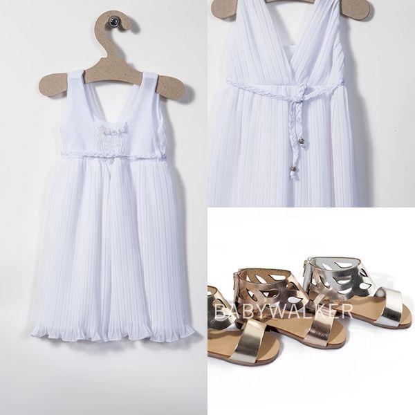 Αρχαιοελληνικό βαπτιστικό φόρεμα συνδυασμένο με αρχαιοελληνικά δερμάτινα πέδιλα με κυκλαδίτικα μοτιβ!! Μόλις τα ανεβάσαμε!  George Danis www.angelscouture.gr
