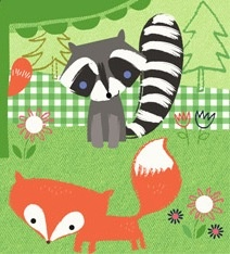 raccoon and fox from Forest Friends, by Jillian Phillips