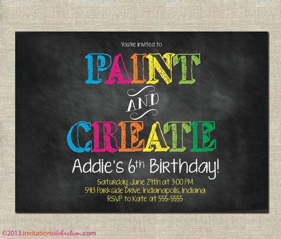 Best 25 Art party invitations ideas on Pinterest