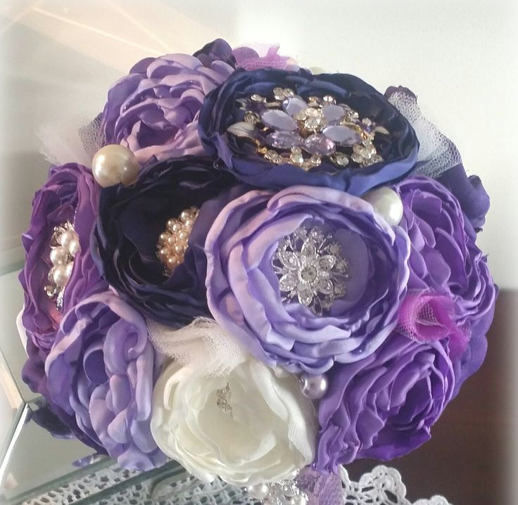 Fabric Brooch Bouquet by BloomsBlingCouture on Etsy