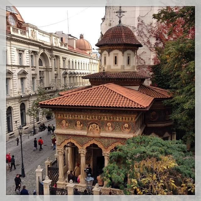 An interesting perspective of Stavropoleos church, one of the most beautiful monuments of Brancovan architecture, dating from the early 1700s, Bucharest