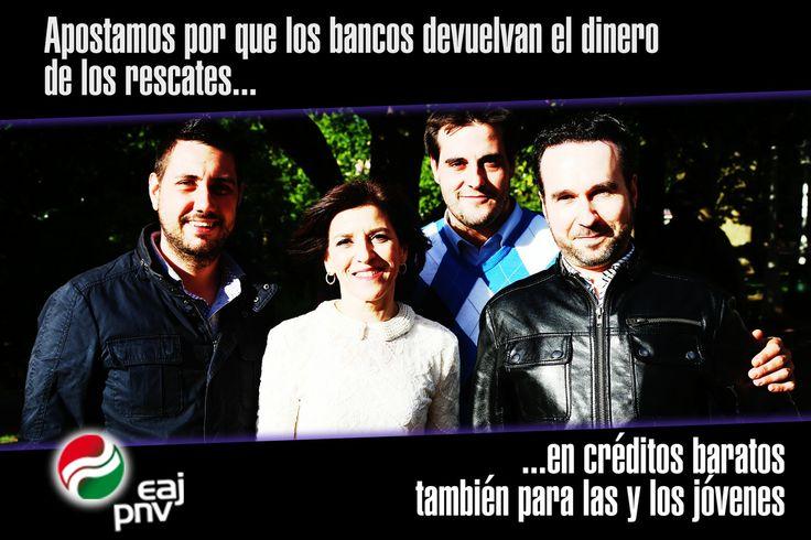 """Izaskun Bilbao: """"Apostamos por que los bancos devuelvan el dinero de los rescates... en créditos baratos también para las y los jóvenes""""."""