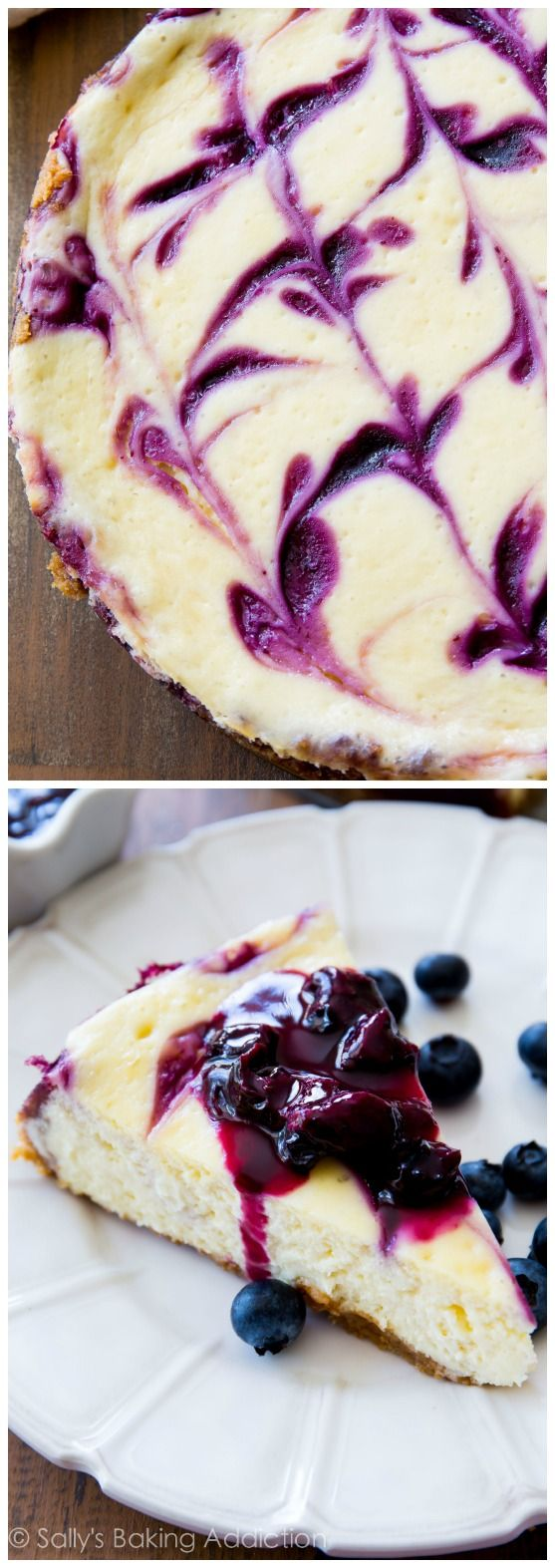 Ultra creamy homemade cheesecake swirled with a sweet blueberry swirl. All on top of my favorite buttery graham cracker crust! sallysbakinga...