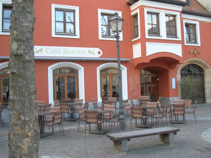 Amberg Germany. Love the outdoor cafes in Europe!
