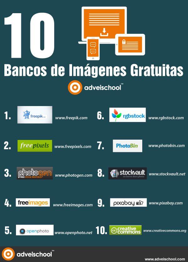 10 bancos de imágenes gratuitas #infografia #infographic #design                                                                                                                                                                                 Más