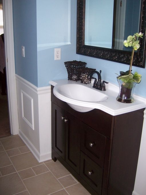 29 best blue brown bathroom images on pinterest bathroom for Blue and grey bathroom sets