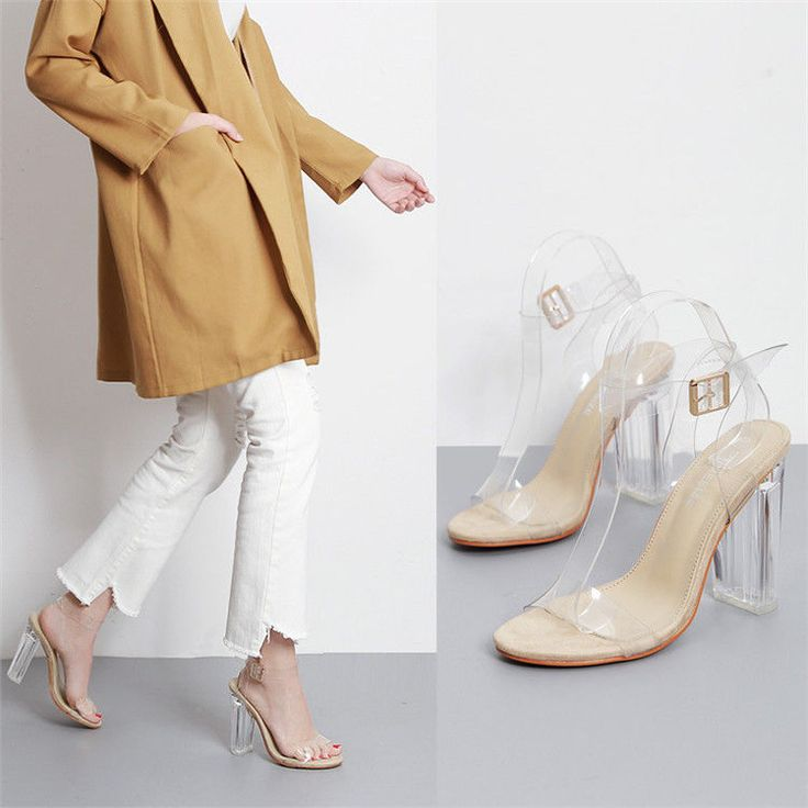 2017 Women's Transparent Sandals Clear High Heels Ankle Strappy Open Toe Shoes