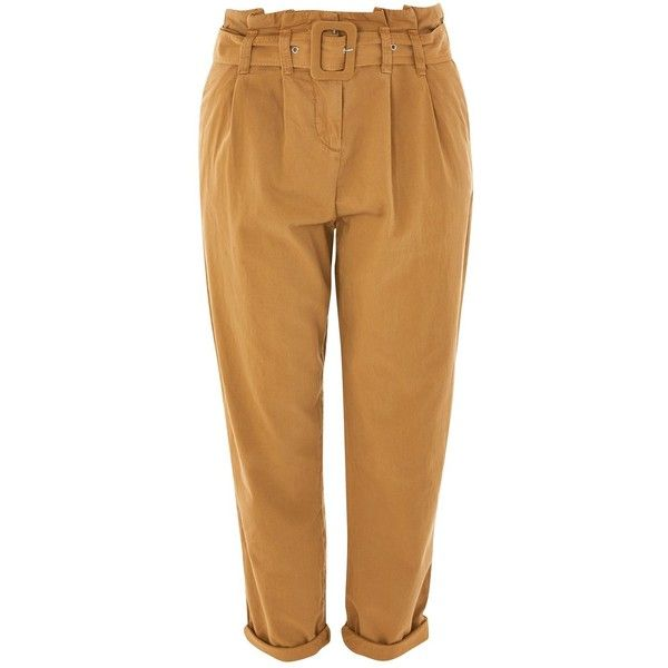Topshop Belted Chino Trousers ($54) ❤ liked on Polyvore featuring pants, tan, oversized pants, tapered chino pants, cotton chino pants, cotton trousers and tan pants