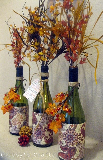 Fall decorations: Chic Decor, Fall Flowers, Crafts Ideas, Fall Decor, Fall Crafts, Wine Bottle, Fall Vase, Glasses Bottle, Cheap Centerpieces
