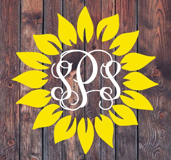 Sunflower Monogram Decal Lilly Pulitzer by ShopSouthMagnolia