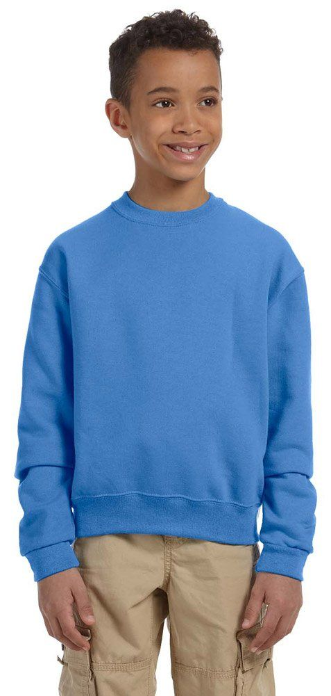 Jerzees Youth 8 oz., 50/50 NuBlend Fleece Crew (562B)- COLUMBIA BLUE,S. 50% cotton, 50% polyester. high-stitch density for a smooth printing canvas. 1x1 ribbed collar, cuffs and waistband with spandex. double-needle coverseaming on neck, armholes and waistband. seamless body.