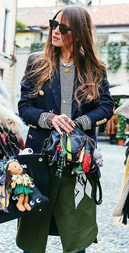 Carlotta Oddi with a Saint Laurent bag: