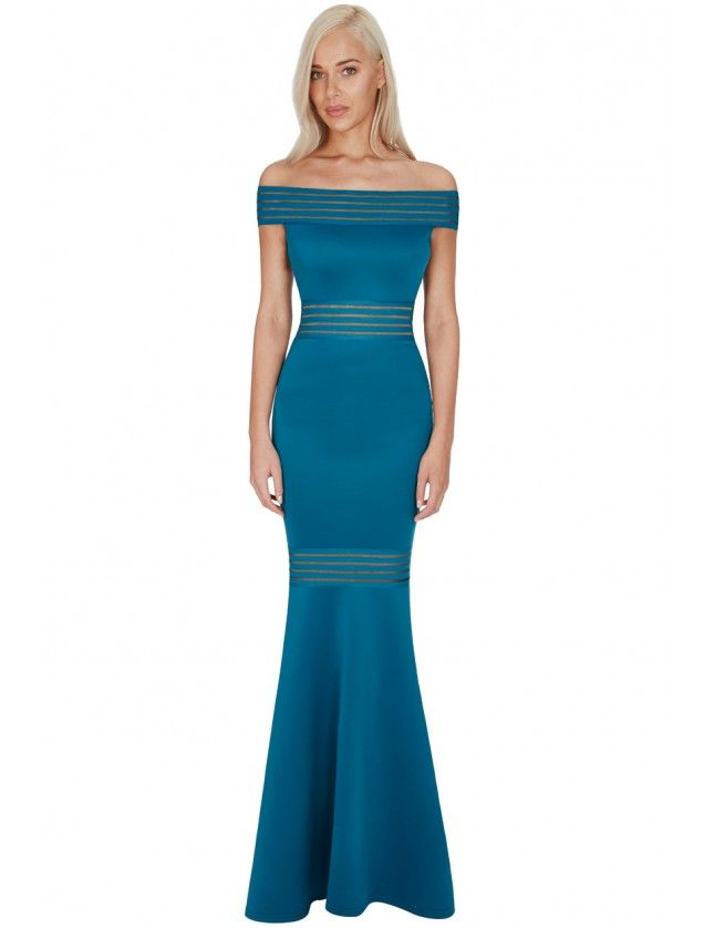 Bardot Fishtail Maxi Dress - Teal - Front - DR639