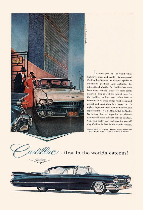 VINTAGE CADILLAC CAR Ad Rockabilly Car by EncorePrintSociety