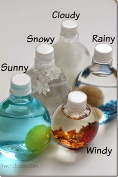 Weather Sensory Bottles - Such a fun way for Toddler, Preschool and Kindergarten age kids to explore weather!