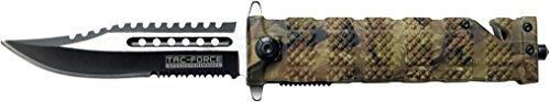 TAC Force TF-710JC Liner Lock Assisted Opening Folding Knife Two-Tone Half-Serrated Blade Jungle Camo Handle 5-Inch Closed