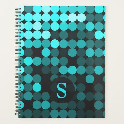 Modern Cool Unique Turquoise Dots Pattern Monogram Planner - modern gifts cyo gift ideas personalize