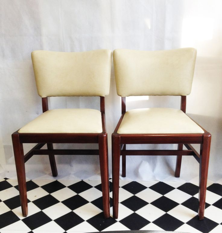 Set Of Four Mid Century Danish Style Dinning Chairs. 1950's Butterfly backed, cream leather and Rosewood. by TheFreerRange on Etsy