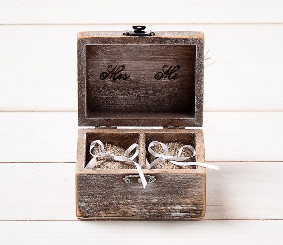 Ring Box Wedding Ring Holder Ring Pillow Bearer Box with Shabby Chic Rose Rustic Barn Wooden Burlap and Lace Love Gift