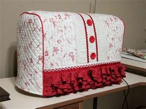 Red and white quilted machine cover-but I can see it in pink and black!