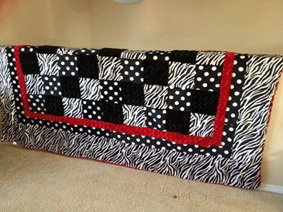 Zebra and Jumbo Dot MINKY Queen Size Blanket by tarascozycreations